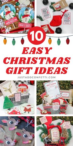 These Top 10 easy Christmas gift ideas are so creative & fun! Each idea has a matching printable too! Make Christmas gift giving a breeze with these simple and cute gift ideas. Fun holiday ideas for all. We've got gift ideas for everyone on your list...gifts for kids, teacher gifts, gifts for co-workers, friends and neighbors! Be sure to head to justaddconfetti.com for even more gift ideas, party ideas and inspiration. Grab all the printables in our Just Add Confetti Etsy shop too!