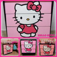 Hello Kitty dresser I hand painted for my daughters Hello Kitty themed bedroom. Love the way it turned out.