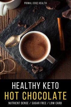 Enjoy a delicious cup of healthy keto hot chocolate when you're craving some comfort this winter. I promise this low-carb homemade chocolate drink will warm and nourish you at the same time! Healthy Hot Chocolate, Homemade Chocolate, Nut Free, Dairy Free, Keto Recipes, Healthy Recipes, Food To Make, Cravings, Low Carb