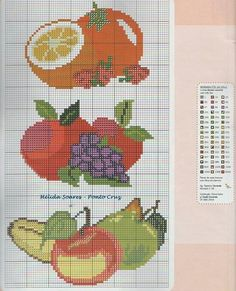 Frutas Cross Stitch Fruit, Cross Stitch Kitchen, Cross Stitch Flowers, Cross Stitch Embroidery, Cross Stitch Patterns, Beading Patterns, Animals And Pets, Needlepoint, Diy And Crafts