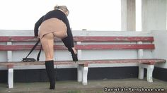 public pantyhose upskirt seamed tights, mini skirt and boots - Daniella In Pantyhose Videos
