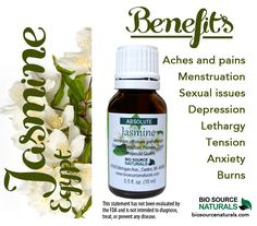 Jasmine Essential Oil is relaxing, intoxicating, warming, and great for sleep. This aphrodisiac helps emotionally with anger, jealousy, and disappointment. #aromatherapy