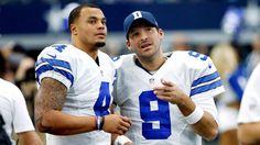 A year ago, Dak Prescott and Tony Romo were teammates; on Sunday, Romo will call the Cowboys' game, with Prescott as starting quarterback. Tony Romo, Dallas Cowboys Football, Sport Football, Cowboys Quarterbacks, Nfl Week, Nfc East, Dak Prescott, Shoes Too Big, Nfl Fans
