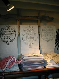 antique European grain sacks ~ inspiration
