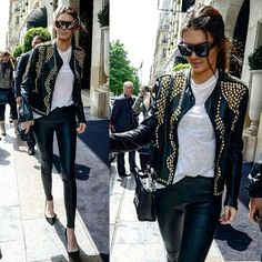 Urban style  #kendalljenner #streetstyle #fashion #streetchic #studded #leather #jacket #streetfashion #streetlook #flawless #fashionista #topmodel #casualchic #lazychic #chic #trendsetters #glam #trending #style #stylish #styling #ootd #instadaily #instafashion