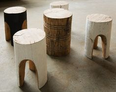 Hand carved, sculptural stool made from reclaimed local timber by Greg Hatton, at Butterland studio. Each stool is unique and handmade and hand painted.
