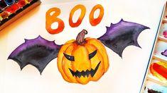 Halloween Pumpkin Painting - DIY Wall Art Ideas For Home Decor \ Watercolor Tutorial DIY Halloween decorating. Watercolor pumpkin with bat wings. Halloween Pumpkins, Halloween Diy, Halloween Decorations, Autumn Illustration, Watercolor Illustration, Watercolour Tutorials, Painting Tutorials, Pumpkin Painting, Pumpkin Carving