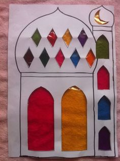 "Here are the instructions: Print the Masjid Suncatcher Template. Cut out the ""windows"" of the masjid ahead of time, … Continue reading → Eid Crafts, Ramadan Crafts, Ramadan Decorations, Islamic Gifts, Islamic Art, Islamic Studies, Craft Day, Art N Craft, Decoraciones Ramadan"