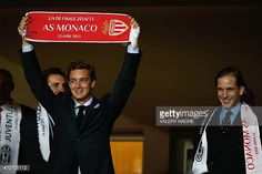 Andrea Casiraghi and his brother Pierre attend the UEFA Champions League quarter final second leg football match AS Monaco vs Juventus FC on April 22...