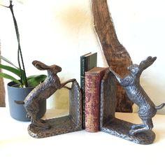 Bramble & Foxglove Hare Bookends - Bronze Hares - Bronzes