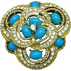 CINER Simulated Turquoise Cabochon Rhinestone Gold Plated Brooch