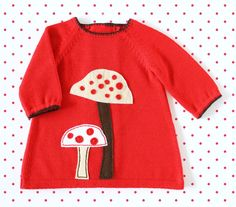 Knitted+baby+dress+red+baby+girl+baby+gift+felt+by+tenderblue