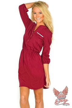 Lauren James Virginia Dress - The Lauren James Virginia dress is the perfect dress for any occasion.  Made from super soft jersey, this dress has an elastic waist and pockets. Perfect for the tailgate or for for getting out and running errands. You will catch yourself wearing this dress over and over all throughout the fall. The Virginia Dress in crimson is perfect for all of you Bama and Lowndes High Viking fans!  | available at http://www.envyboutique.us/shop/lauren-james-