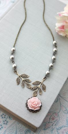 Pretty pink rose bud necklace