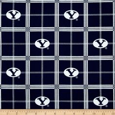 Collegiate Cotton Flannel Brigham Young University Plaid Blue from @fabricdotcom  Cheer on the Cougars, your favorite college team with this collegiate broadcloth! This fabric is perfect for quilting, apparel and home décor accents.  Colors include white and BYU blue. The logos appearing on this fabric are protected trademarks of Brigham Young University. This product is intended for personal use only.  Any unauthorized use is prohibited.