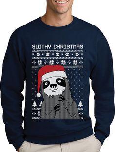 Slothy Christmas Ugly Christmas Sweater Sweatshirt Medium Red Tstars