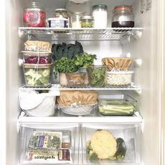 Beautiful vegan and plant-based refrigerator organization goals via Laura Elizabeth Campbell.joy — I extra-love that she is low-waste and eco-friendly! Fridge Storage, Refrigerator Organization, Kitchen Organization, Organizing, Freezer Organization, Makeup Organization, Wall Cupboards, Eat To Live, Wood Plans