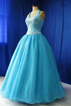 blue Princess Wedding Dresses | Halter A Line Embroidery Belt Organza Princess Blue Wedding Gowns 2012 ...