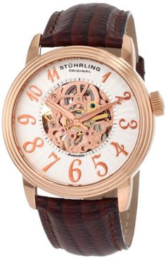Men's Wrist Watches - Stuhrling Original Mens 107A3345K34 Classic Delphi Apollo Automatic Skeleton Brown Watch -- Continue to the product at the image link.
