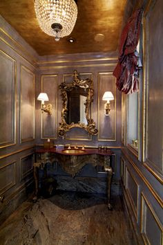 wow golden faux painted ceiling gold trim, over the top drama perfect for a #powderroomjewelbox