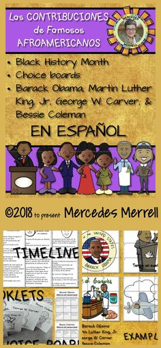 Black History CHOICE BOARDS Contribuciones de Famosos Afroamericanos en ESPAÑOL- Barack Obama, Martin Luther King, Jr, George Washington Carver, and Bessie Coleman- Timelines, Informational Foldable Booklets, Puzzles, Venn Diagram Grades 1-3