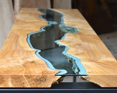 River collection: this glass/wood table by Greg Klassen beats live edge tables...by a mile!