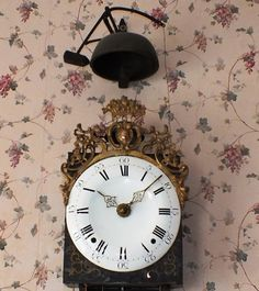 Big size French Comtoise clock with a separate hour bell and a half hour bell on the top of the clock 1755.