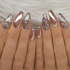 24 Stunning Glitter Nail Art Designs That You Will Love to Try; nail designs designs for short nails step by step best nail stickers nail art sticker stencils full nail stickers Fabulous Nails, Gorgeous Nails, Pretty Nails, Amazing Nails, Perfect Nails, Gold Nail Art, Glitter Nail Art, Rose Gold Nails Chrome, Rose Gold Glitter Nails