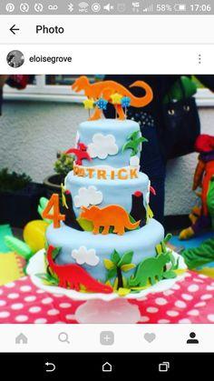 Dinosaur 3 tier birthday cake. Sponge with fondant icing