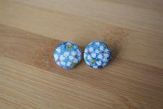 Japanese kimono fabric post earrings  light blue by sarabamanda