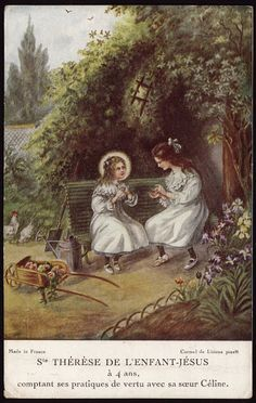 Therese of Lisieux counting their practices of virtue with her sister Celine. ~ Holy Cards for Children Sainte Therese De Lisieux, Ste Therese, Catholic Kids, Catholic Saints, Roman Catholic, Bernadette Of Lourdes, Maria Goretti, Sacred Garden, Vintage Holy Cards