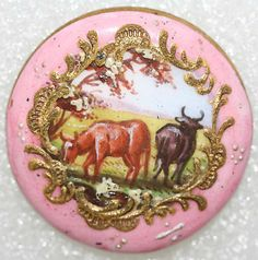 1770s painted French button.  Wonder what kind of garment would have held this button?
