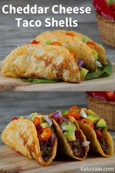 Oh my god these cheese shells tacos are so delicious. The best thing is they are low carb and keto friendly! Oh my god these cheese shells tacos are so delicious. The best thing is they are low carb and keto friendly! Low Carb Tacos, Low Carb Diet, Cheese Shell Taco, Keto Cheese, Cheddar Cheese, Cheese Tacos, Low Carb Recipes, Diet Recipes, Healthy Recipes