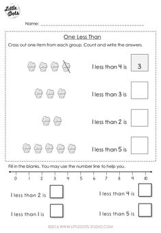 Subtraction worksheet for kindergarten and grade 1 level. Learn the concept of one less than and practice to use number line to solve simple subtraction problems. Subtraction Kindergarten, Numbers Kindergarten, Free Kindergarten Worksheets, Subtraction Worksheets, 1st Grade Worksheets, Preschool Math, Kindergarten Class, Sight Word Worksheets, Number Worksheets
