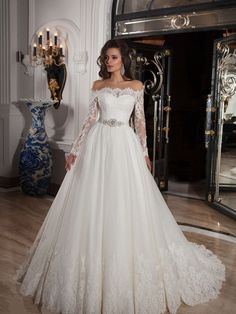 7cb8429bf2 Ball Gown Off-the-Shoulder Neckline Court Train Satin Wedding Dress With  Lace