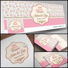 Criação de Logotipo em estilo floral romântico para Confeitaria. Veja outras lindas artes em nosso site: www.ateliefloradg.com.br Flora Design, Logo Doce, Estilo Floral, Baking Quotes, New Job, Vintage Cards, Cake Designs, Slogan, Business Cards