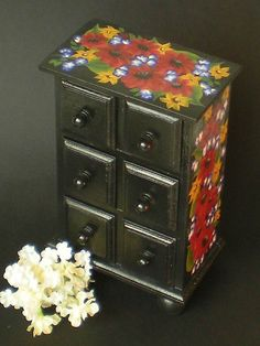 Hand Painted Jewelry Box Mini Chest - Black with Copper Daisies, Gold Sunflowers - 6 Drawers Trinkets Vanity Tween Teen Girl