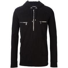 Balmain Black Cotton Black Zipper Biker Hoodie Jacket ($720) ❤ liked on Polyvore featuring men's fashion, men's clothing, men's outerwear, men's jackets, black, mens biker jacket, mens zipper jacket, mens zip up jacket, balmain mens jacket and mens sherpa lined jacket