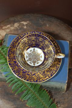 "AYNSLEY Bone China Tea Cup and Saucer colbalt ""Repinned by Keva xo""."