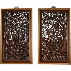Two Chinese Wood Panels - Stylized Bamboo and Pine Trees from threefriendsstudio on Ruby Lane