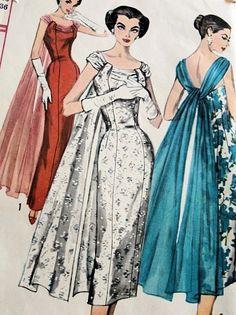 1950s LOVELY SLIM EVENING DRESS PATTERN GRACEFUL FLOATING BACK DRAPE, FIGURE SHOW OFF SHEATH SIMPLICITY 1866 PATTERNS