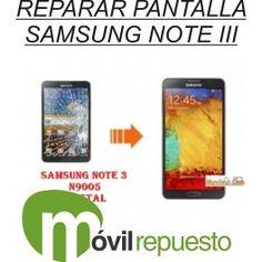 #Samsung #Galaxy #Note 3 n9005, cambio de pantalla o cristal, reparación con maquina. Con pegamento uv loca de origen y sellado profesional. #Reparamos todo tipo de #smartphones www.movilrepuesto.net