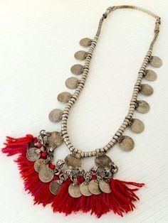 RARE Banjara Coins Heavy Vintage Tribal Tassels Gypsy Kuchi Chain Necklace | eBay pinned with #Bazaart - www.bazaart.me