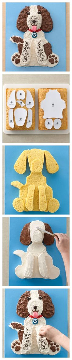 Springer Spaniel Dog Cake and template for your favorite pal! So much sweeter than our actual dog was! Dog Cakes, Cupcake Cakes, Cake Icing, Eat Cake, Rodjendanske Torte, Dog Cake Recipes, Puppy Cake, Doggie Cake, Animal Cakes