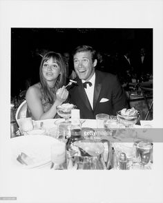 Actors Sally Field and Chris George joking around at their table, at the Emmy Awards, Los Angeles, CA, 1967. Best Actress, Best Actor, Christopher George, Coretta Scott King, Comedy Duos, Night Show, Mary Tyler Moore, The Emmys