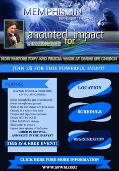 "Stand Firm World Ministries presents ""Anointed For Impact"" on September 17-18, 2014 with Daytime Classes & Night Time Revival featuring Prophetic Revivalist Keith Miller.  Location: Divine Life Church (Host Pastor's Tony & Felicia Wade) 2019 Ball Road, Memphis, Tennessee 38116  For More Info or Free Registration: 901.745.8149 https://sfwm.org/details/202-anointed-for-impact-memphis"