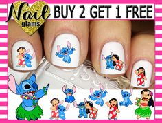 60 Nail Decals LILO & STITCH Disney Nail by NailGlamsNailDecals