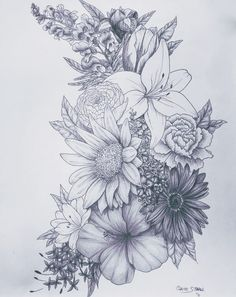 Love this for a tattoo birth flower tattoos, flower sleeve tattoos, floral tattoo sleeves Neue Tattoos, Body Art Tattoos, Drawing Tattoos, Flower Tattoo Drawings, Trendy Tattoos, Cool Tattoos, Tigh Tattoo, Tattoos Realistic, Tatuajes Tattoos