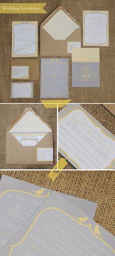Grey & Yellow Wedding Invitations