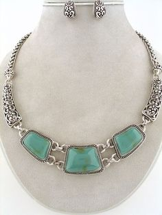 WHOLESALE JEWELRY LOT 2 SETS Antique Silver Turquoise Acrylic Necklace Earrings